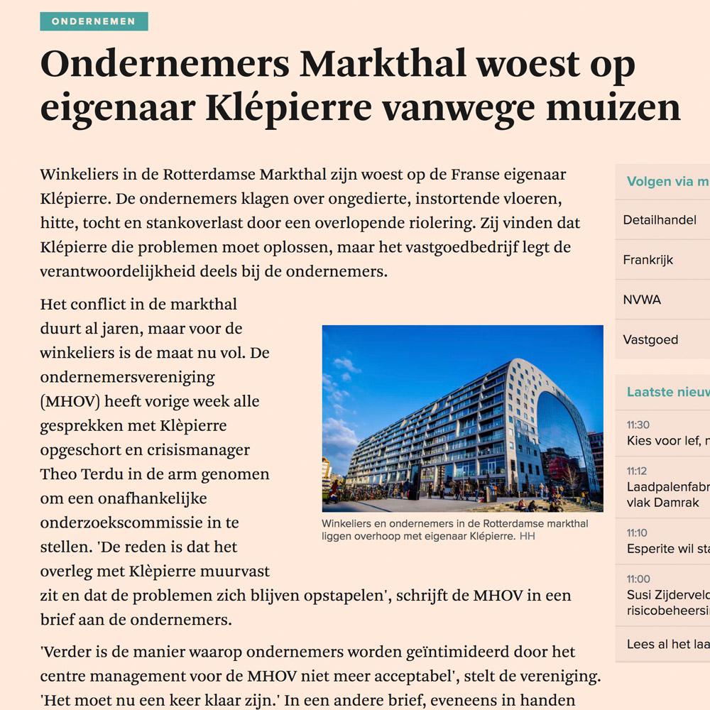 Ondernemers Markthal woest op eigenaar Klépierre vanwege muizen