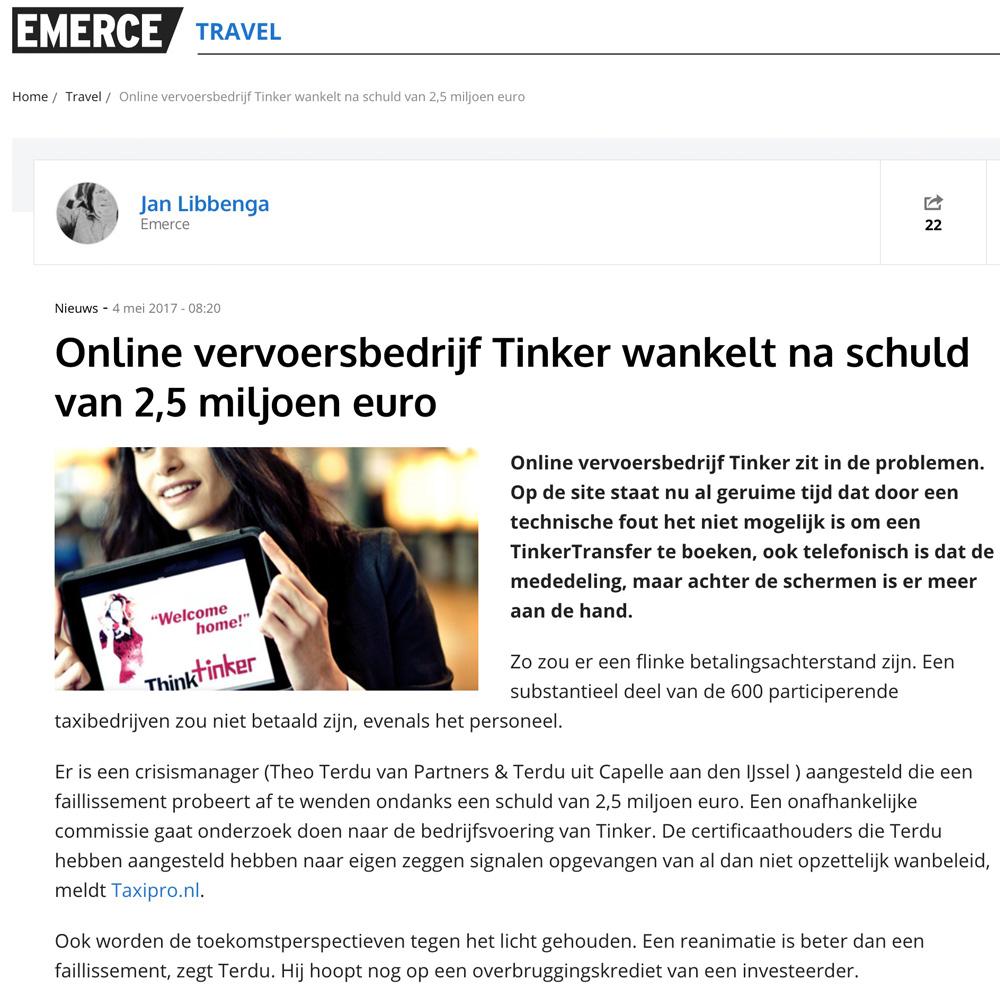 Online vervoersbedrijf Tinker wankelt na schuld van 2,5 miljoen euro