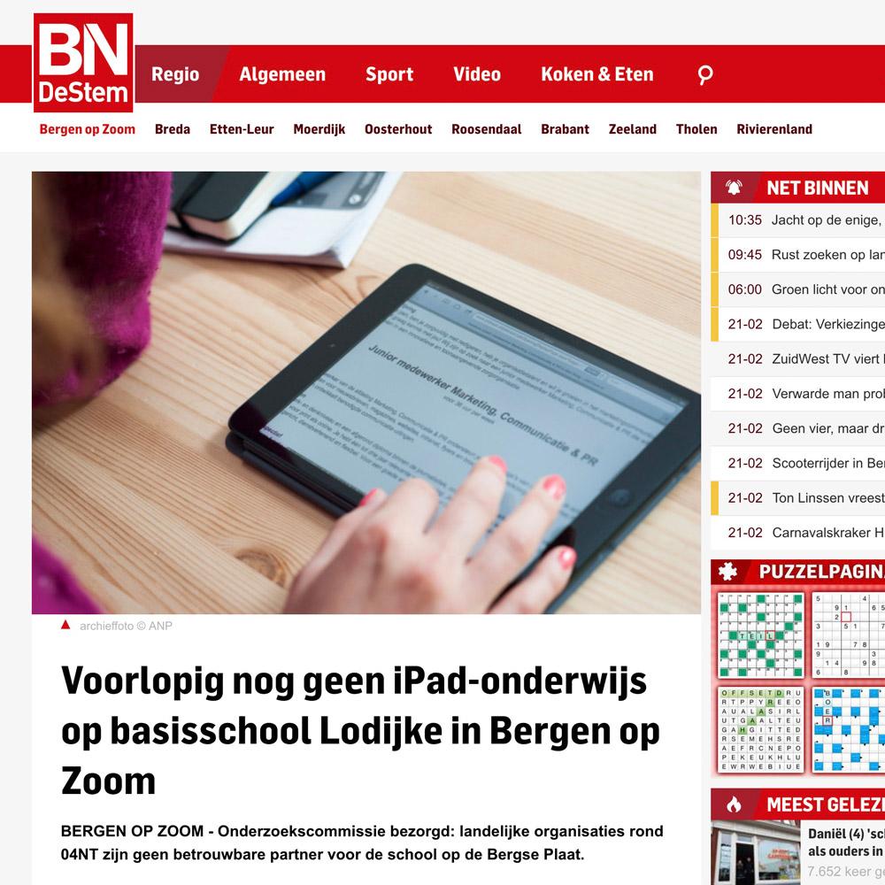 Voorlopig nog geen iPad-onderwijs op basisschool Lodijke in Bergen op Zoom